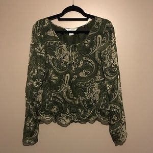 Allison Taylor Boho Paisley Silk Blouse Medium
